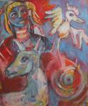 SPIERINGS Christine  -oil on canvas 100x125cm DANSING BIRD!