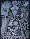 POSTIC Evelyne - 2013- Le fleuve noir - encre gel sur canson 65x50 cm