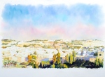 BENI GASSENBAUER  Jerusalem at sunset   watercolor, 76x57cm