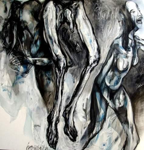 KOLLER Ben Ami - Série Auschwitz -- Huile sur toile - 140-140 cm - 2007-